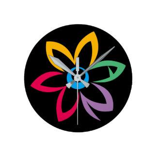 WOMAN FLOWER BLACK ROUND CLOCK