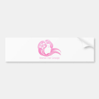 Woman Flower Hair Concept Bumper Sticker