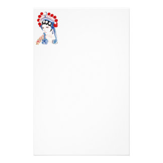 Woman from Chinese Opera with Tattooed Arm Custom Stationery
