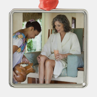 Woman getting a footbath at a spa in Mexico. Christmas Ornament