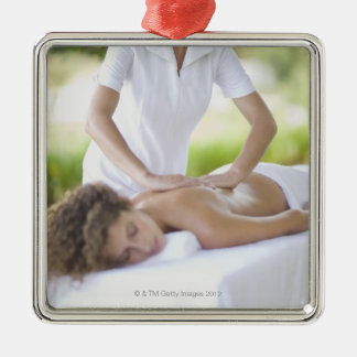 Woman getting a massage christmas ornament