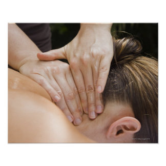 Woman getting spa treatment posters