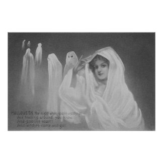 Woman Ghost Costume Trick Or Treat Poster
