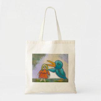 Woman giant bird played a joke odd unique art canvas bags