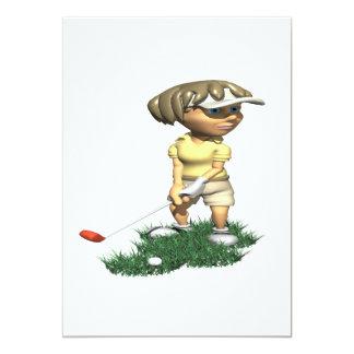 Woman Golfer 13 Cm X 18 Cm Invitation Card