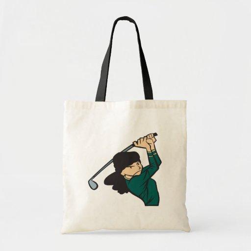 Woman Golfer Tote Bags