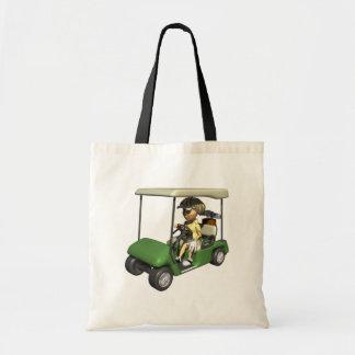 Woman Golfer Cart Budget Tote Bag