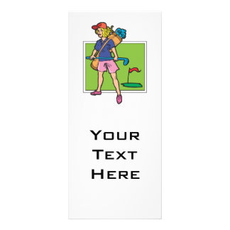 woman golfer graphic customised rack card