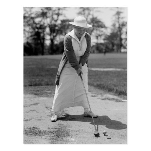 Woman Golfing, Vintage 1910s Postcard