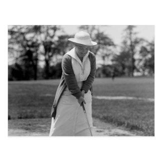 Woman Golfing Vintage 1910s Postcard