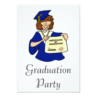Woman Graduate Blue 13 Cm X 18 Cm Invitation Card