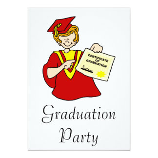 Woman Graduate Red Gown 13 Cm X 18 Cm Invitation Card