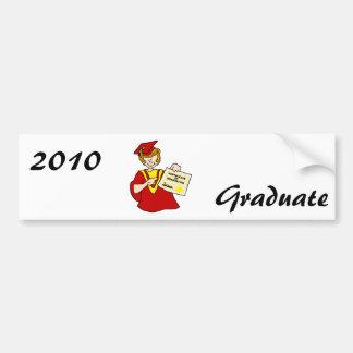 Woman Graduate Red Gown Car Bumper Sticker