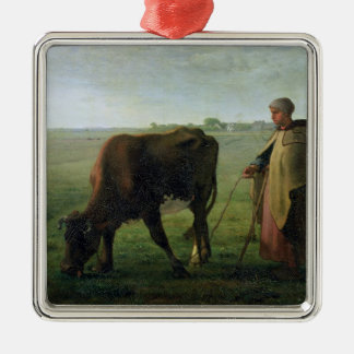 Woman Grazing her Cow, 1858 Christmas Ornament