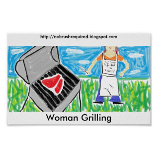 Woman Grilling Poster