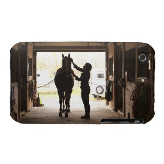 Woman grooming horse iPhone 3 cover