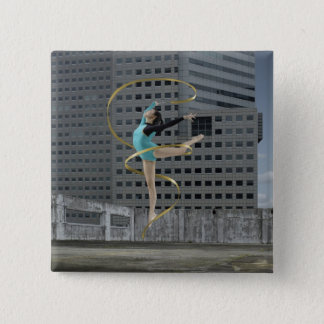 Woman gymnast outdoors on rooftop jumping in air 15 cm square badge