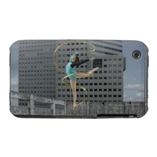 Woman gymnast outdoors on rooftop jumping in air iPhone 3 cases