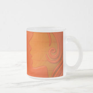 Woman Hair Silhouette Frosted Glass Mug