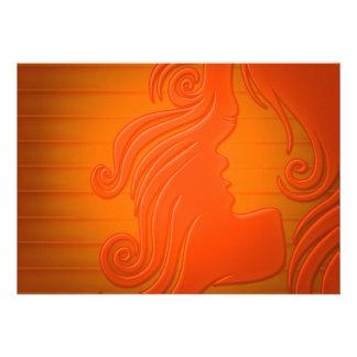 Woman Hair Silhouette Custom Announcements