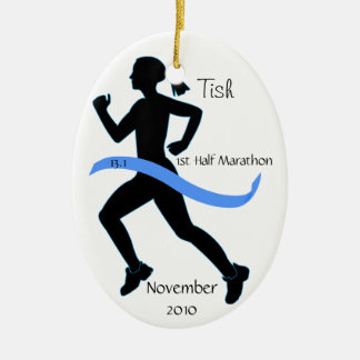 Woman Half Marathon Runner Ornament