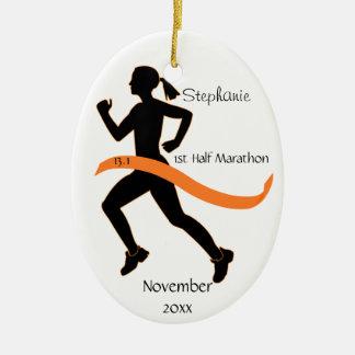 Woman Half Marathon Runner Ornament in Orange
