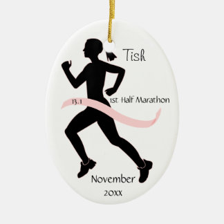Woman Half Marathon Runner Ornament in Pink