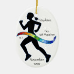 Woman Half Marathon Runner Puzzle Ribbon