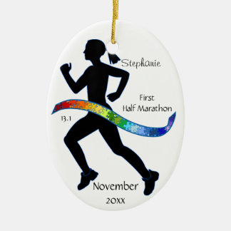 Woman Half Marathon Runner Puzzle Ribbon Christmas Ornament