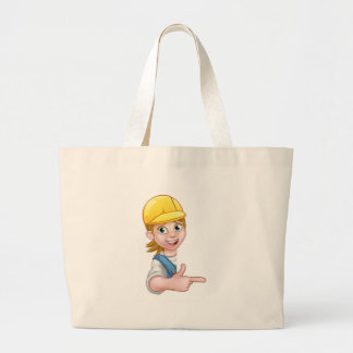 Woman Handyman Carpenter Mechanic or Plumber Large Tote Bag