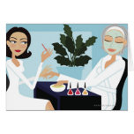 Woman having manicure and facial at spa card