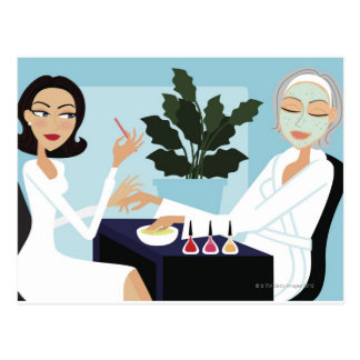 Woman having manicure and facial at spa post card