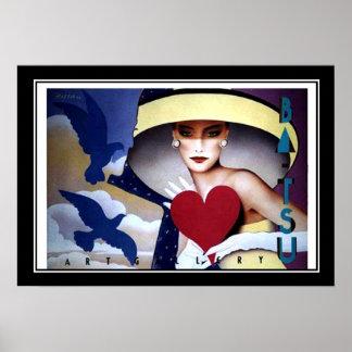 Woman Heart Art Deco Poster