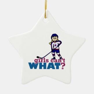 Woman Hockey Player Ceramic Star Decoration