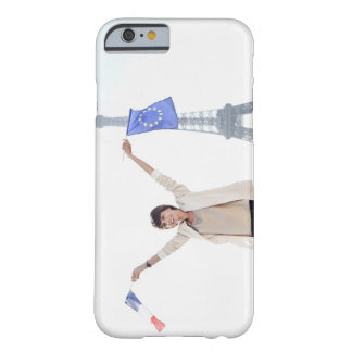 Woman holding a European Union flag and a French Barely There iPhone 6 Case