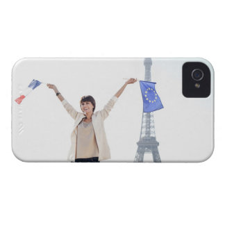 Woman holding a European Union flag and a French Case-Mate iPhone 4 Case