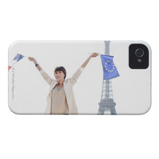 Woman holding a European Union flag and a French iPhone 4 Cases