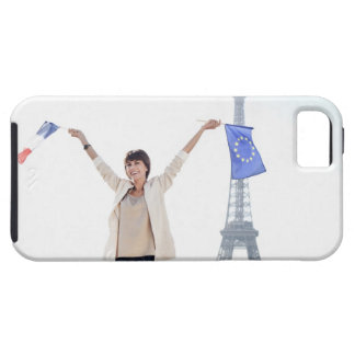 Woman holding a European Union flag and a French iPhone 5 Cases