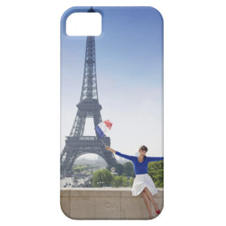 Woman holding a French flag sitting on a stone 2 iPhone 5 Covers