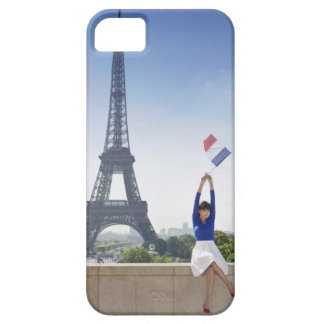 Woman holding a French flag sitting on a stone Case For The iPhone 5