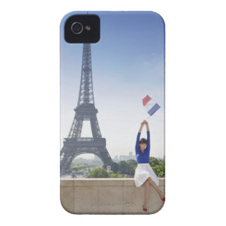 Woman holding a French flag sitting on a stone iPhone 4 Case-Mate Case
