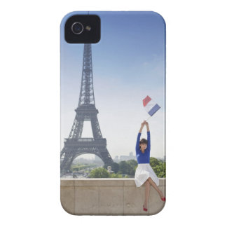 Woman holding a French flag sitting on a stone iPhone 4 Case-Mate Cases