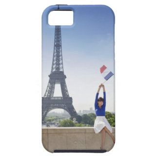 Woman holding a French flag sitting on a stone iPhone 5 Case