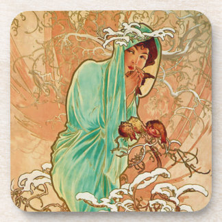 Woman Holding Bird in Golden Snow Covered Tree Coaster