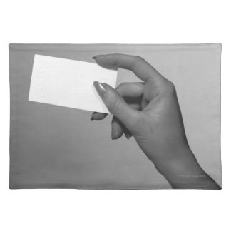 Woman Holding Card Placemat