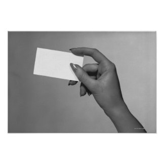 Woman Holding Card Poster
