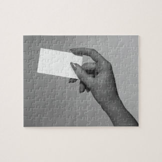 Woman Holding Card Puzzle