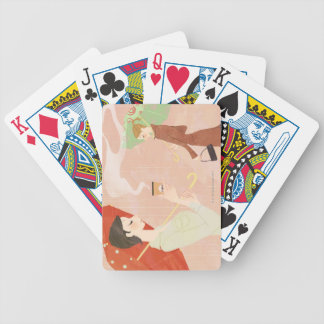 Woman Holding Coffee Bicycle Playing Cards