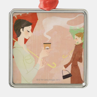 Woman Holding Coffee Christmas Ornament