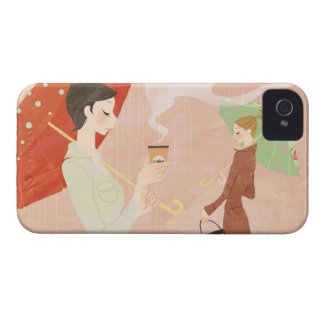 Woman Holding Coffee iPhone 4 Case-Mate Case